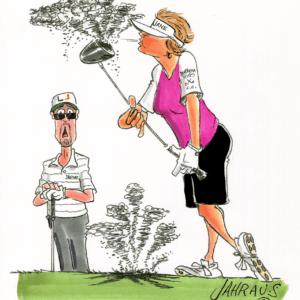 golf couple driver cartoon 1