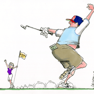 golf couple putt cartoon 1