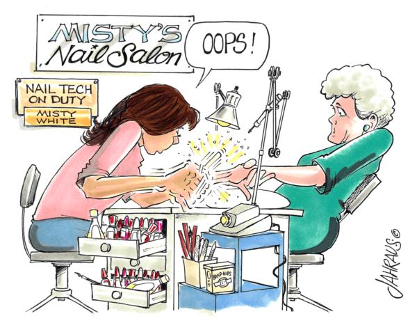 nail technician cartoon 1